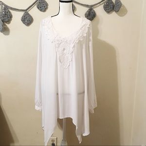 NWT Spense Women White Tunic Blouse 1X